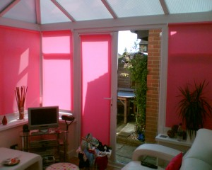 Roller blinds on the conservatory doors.