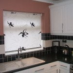 Orchid roller blind in black and white kitchen