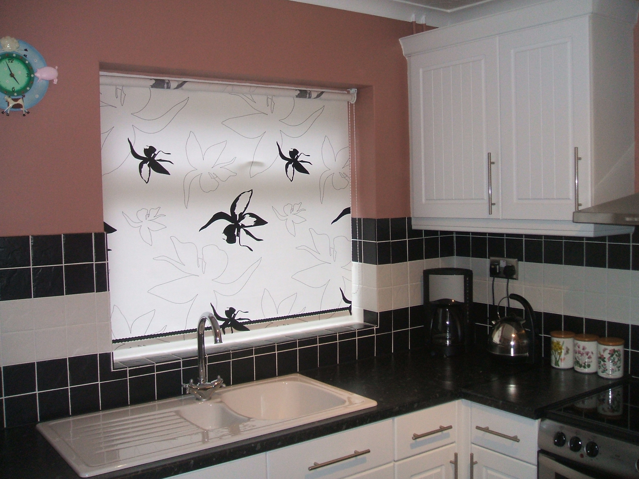 Roller Blinds For Kitchen Black And White Roller Blind Over Kitchen Sink Baileys Blinds
